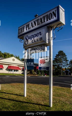 The Plantation Supper Club in Arbor Vitae in the Northwoods area of Wisconsin. - Stock Photo