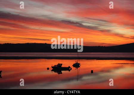 Sunrise over the Camel Estuary. Padstow. Cornwall - Stock Photo