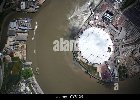 Aerial view of O2 Arena on the River Thames, London - Stock Photo