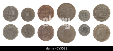 Old Turkish lira coins isolated on white - Stock Photo
