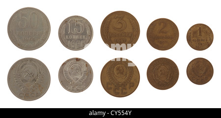 Old Soviet kopek coins isolated on white - Stock Photo