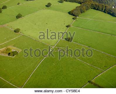 Field Patterns in the Peak District National Park, Derbyshire, Northern England, UK, from the Air - Stock Photo