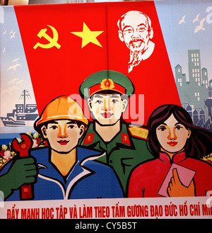 Political propaganda in Hanoi in Vietnam in Far East Southeast Asia. Politics Communism Socialism Communist Socialist - Stock Photo