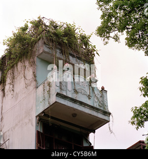 French Colonial Architecture in Old Hanoi in Vietnam in Far East Southeast Asia. City Building House Housing Apartment - Stock Photo