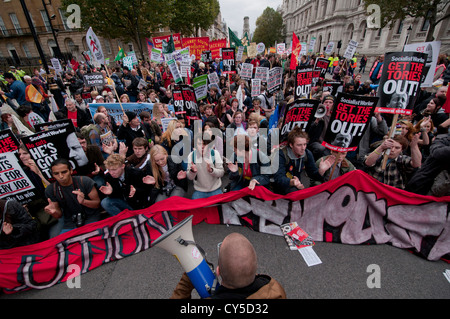 Anti-austerity and anti cuts  protest organized by the TUC  marched through through Central London Oct 2012 - Stock Photo