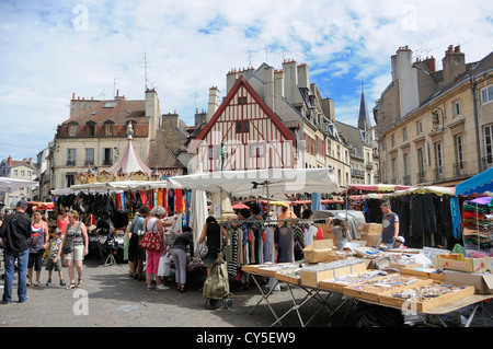 Market stalls in Dijon, France, Europe - Stock Photo