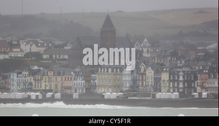 Stormy and cloudy day, Mers-les-Bains, Picardy, France - Stock Photo