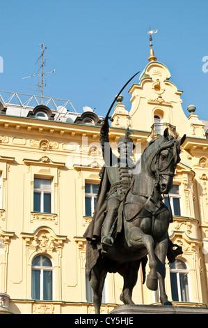 Ban Jelacic statue on the central Square, Zagreb, Croatia - Stock Photo