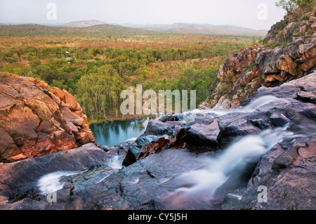 Gunlom Falls from the top. - Stock Photo