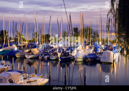 Small harbor on Lake Constance - Stock Photo