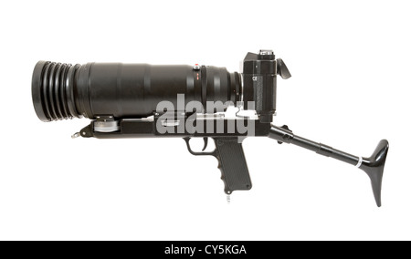 Russian SLR analog camera on white background - Stock Photo
