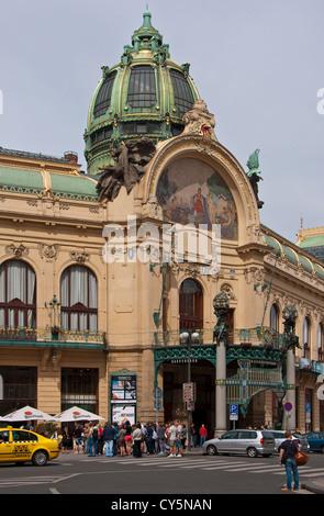 Prague's Old Town Municipal House art nouveau architecture - Stock Photo