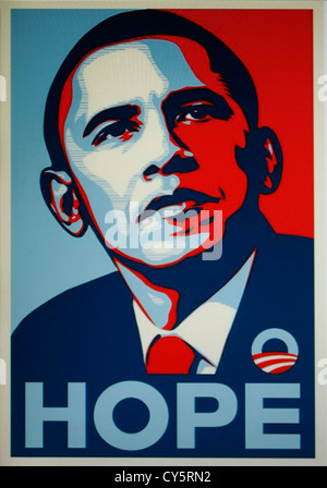 The Barack Obama 'Hope' poster (Shepard Fairey silkscreen print) - Stock Photo