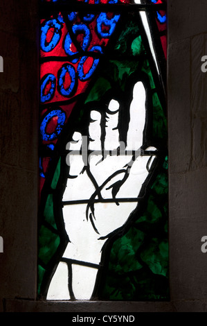 Stained glass in St. Martin`s Church, Sandford St. Martin, Oxfordshire, UK - Stock Photo