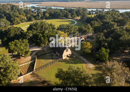 Aerial view of Middleton Place plantation Charleston, South Carolina. - Stock Photo