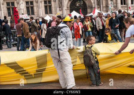 French Demonstration Against Nuclear Power. - Stock Photo