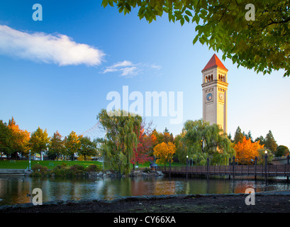 The Spokane clock tower in Riverfront Park in Spokane, Washington - Stock Photo