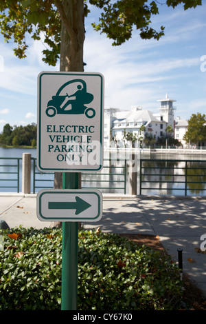 electric vehicle parking only spaces bays in downtown celebration florida usa - Stock Photo