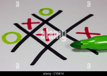 Noughts and Crosses / Tic-Tac-Toe in felt-tip - Stock Photo