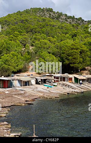 Fisherman hut in Sa Caleta. Ibiza, Balearic Islands, Spain - Stock Photo