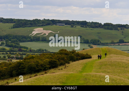 The Whipsnade Lion seen from Ivinghoe Beacon, Buckinghamshire, with the start of the Ridgeway long-distance footpath - Stock Photo