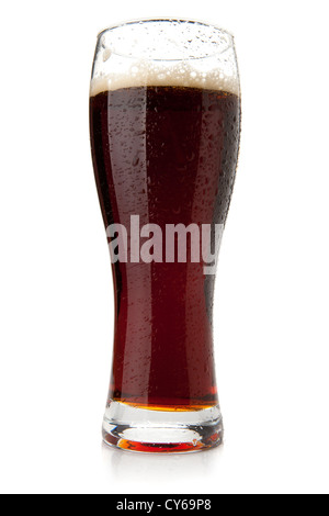 Dark beer with water drops. Isolated on white background - Stock Photo