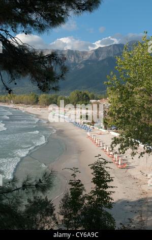 Thassos, Greece. Greek island. September. Golden beach (Chrisi Ammoudia/Skala Panagias) - Stock Photo