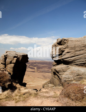 Rocks near 'The Edge' on Kinder Scout in the Peak District - Stock Photo