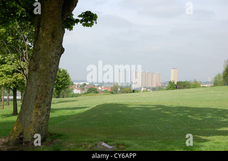 Red Road skyline from Lethamhill Golf Course in Glasgow Scotland. Editorial only, 21 May 2010 - Stock Photo