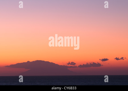 Thassos, Greece. September. View from Golden beach (Chrisi Ammoudia/Skala Panagias) eastward to Isand of Samothrace - Stock Photo