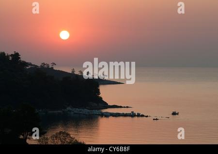 Thassos, Greece. Greek island. September. View from Golden beach (Chrisi Ammoudia/Skala Panagias) eastward to dawn - Stock Photo