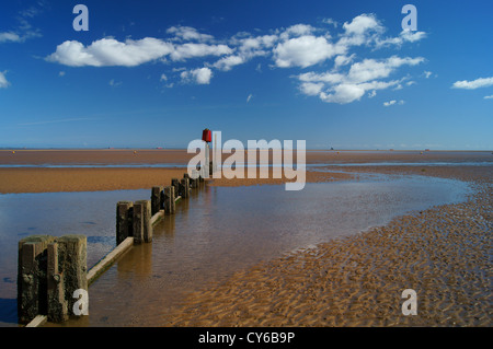 UK,Lincolnshire,Cleethorpes,Beach & Groynes - Stock Photo