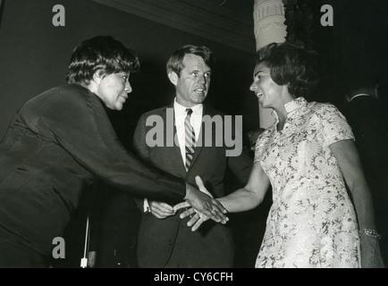 ROBERT F. KENNEDY (1925-1968) and wife Ethel meet Ella Fitzgerald in 1967