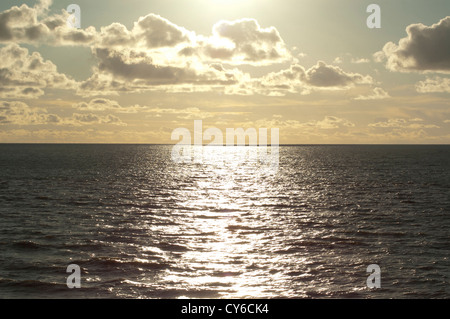 Flat sea in Cardigan Bay. - Stock Photo