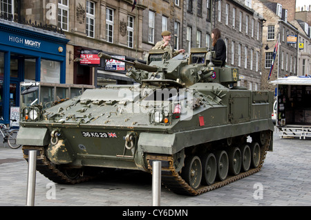 Armoured personnel carrier, part of an Army recruitment campaign, near the centre of Edinburgh, Scotland. - Stock Photo