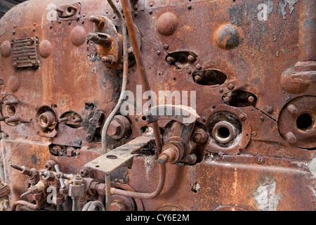 Old rusty steam locomotive boiler - Stock Photo