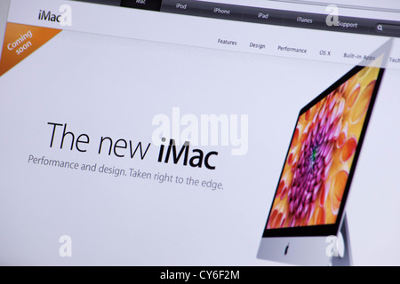 Apple website screenshot with the new iMac 27 presentation page - Stock Photo