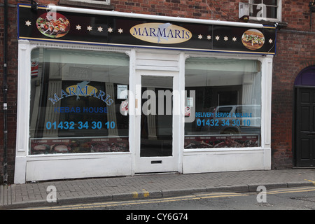 Small shop fronts in Hereford city centre, October 2012 - Stock Photo