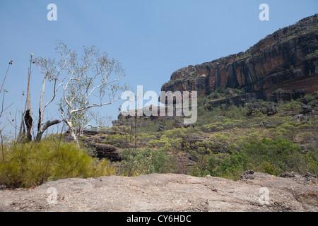 Nourlangie Aboriginal rock art site in Kakadu National Park, Northern Territory, Australia. - Stock Photo