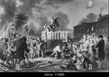 Pulling down the statue of George III by the 'Sons of Freedom,' at the Bowling Green, City of New York, July 1776 - Stock Photo
