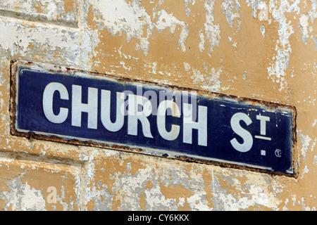 Sign for Church Street inside Galle Fort - Stock Photo