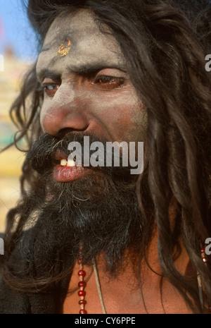 Badrinath, an Aghori sadhu at the Maha Kumbh Mela 2001, Allahabad, Uttar Pradesh, India - Stock Photo