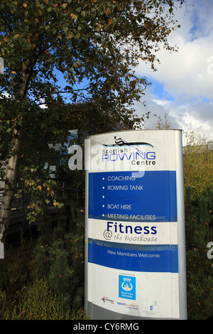 Scottish rowing Centre sign outside the centre in Strathclyde Park near Motherwell in Scotland - Stock Photo