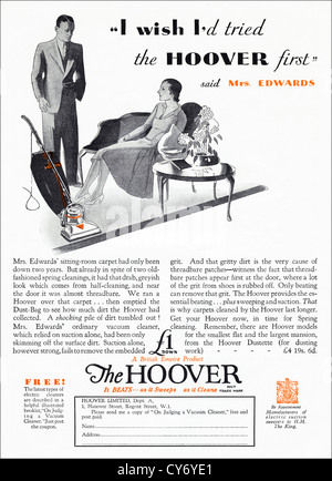 Original 1930s vintage print advertisement from English consumer magazine advertising Hoover electric vacuum cleaner - Stock Photo