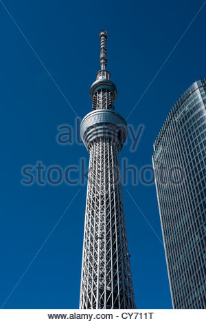 Tokyo Skytree at 634m, is the tallest free-standing broadcasting tower in the world. Sumida Tokyo Japan - Stock Photo