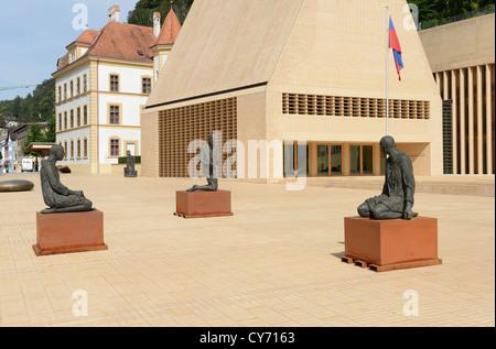 Art in front of the parliament at Vaduz in Liechtenstein - Stock Photo