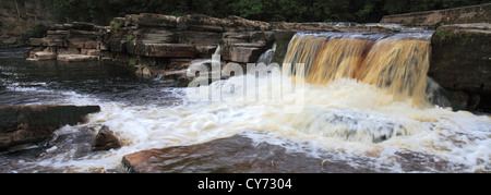 panoramic Waterfalls, river Swale; Richmond town; North Yorkshire, England, United Kingdom - Stock Photo
