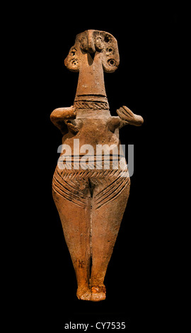 Terracotta statuette of woman with bird face Cypriot II 1450–1200 B.C. Cypriot 15.6 cm Cyprus Greek Greece - Stock Photo
