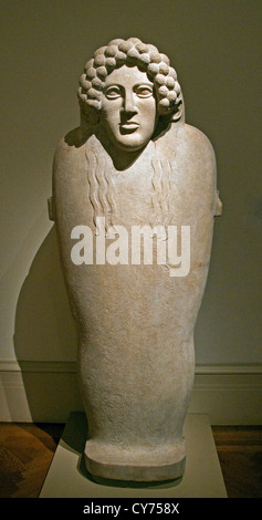 Marble anthropoid sarcophagus 5th century B.C. Graeco Phoenician  222cm  Phoenicia Semitic Greek Greece necropolis - Stock Photo