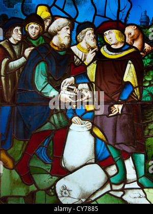 Joseph's Brethren Discover Money in Their Grain Sacks. 1530 French Rouen Glass stained 91 x 66 cm - Stock Photo